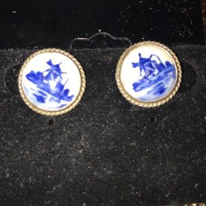Vintage Jewelry - Vintage/porcelain hand painted windmill learrings